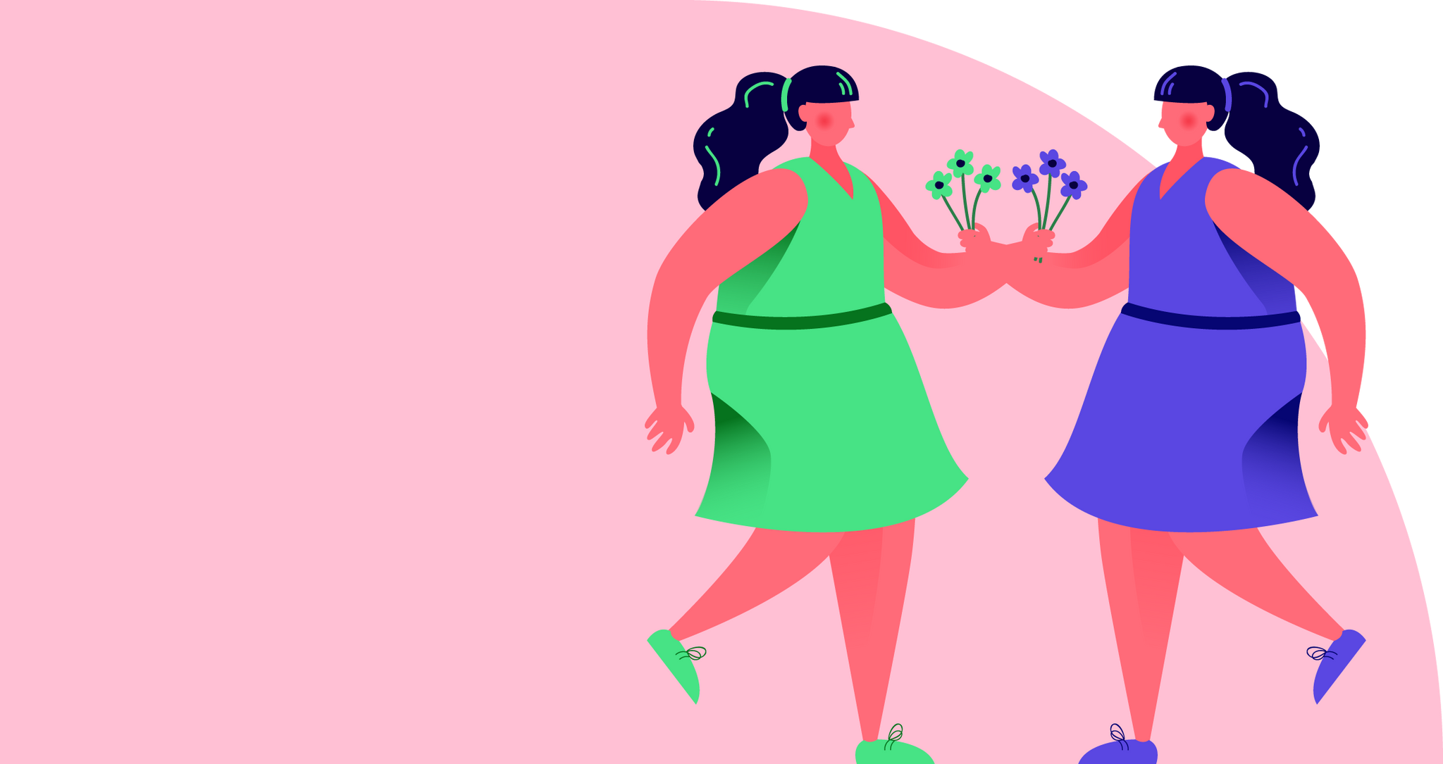 Illustration of two women carrying flowers