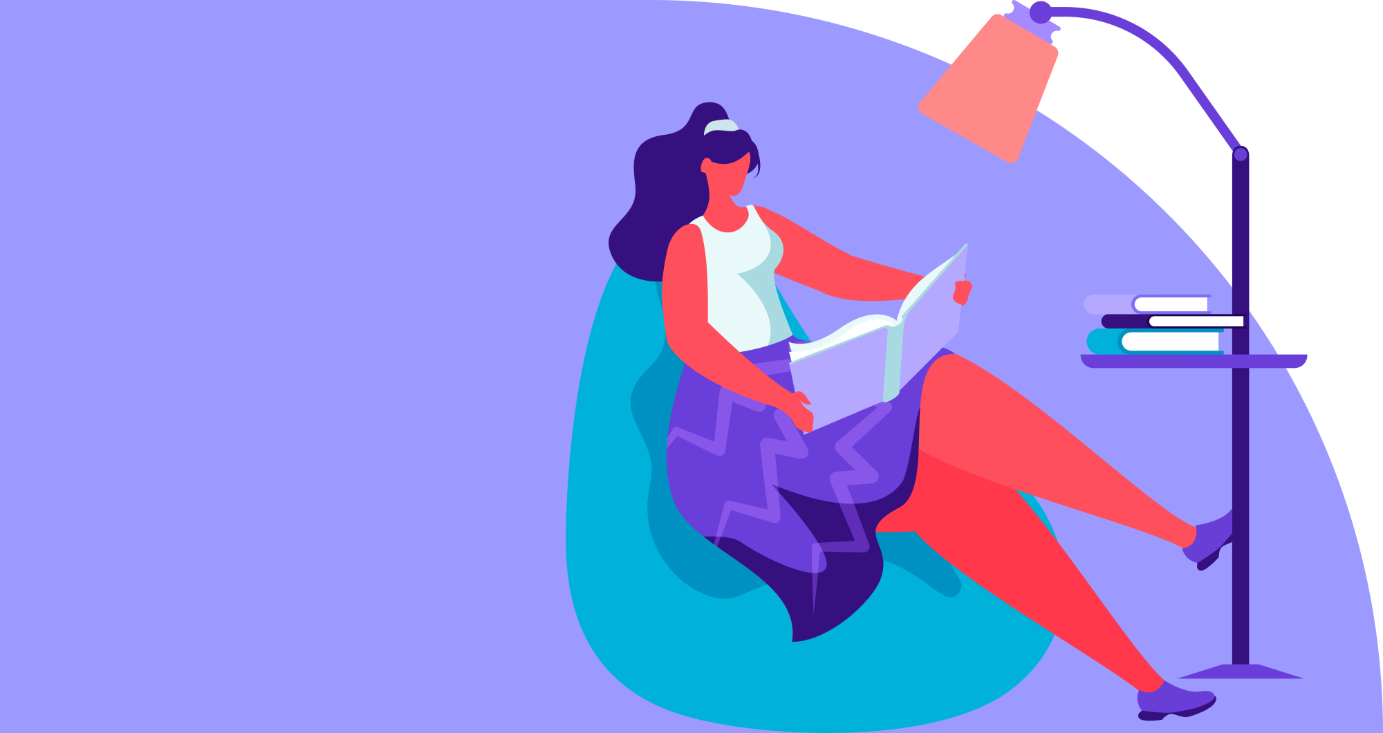 Cartoon woman sitting and reading a book