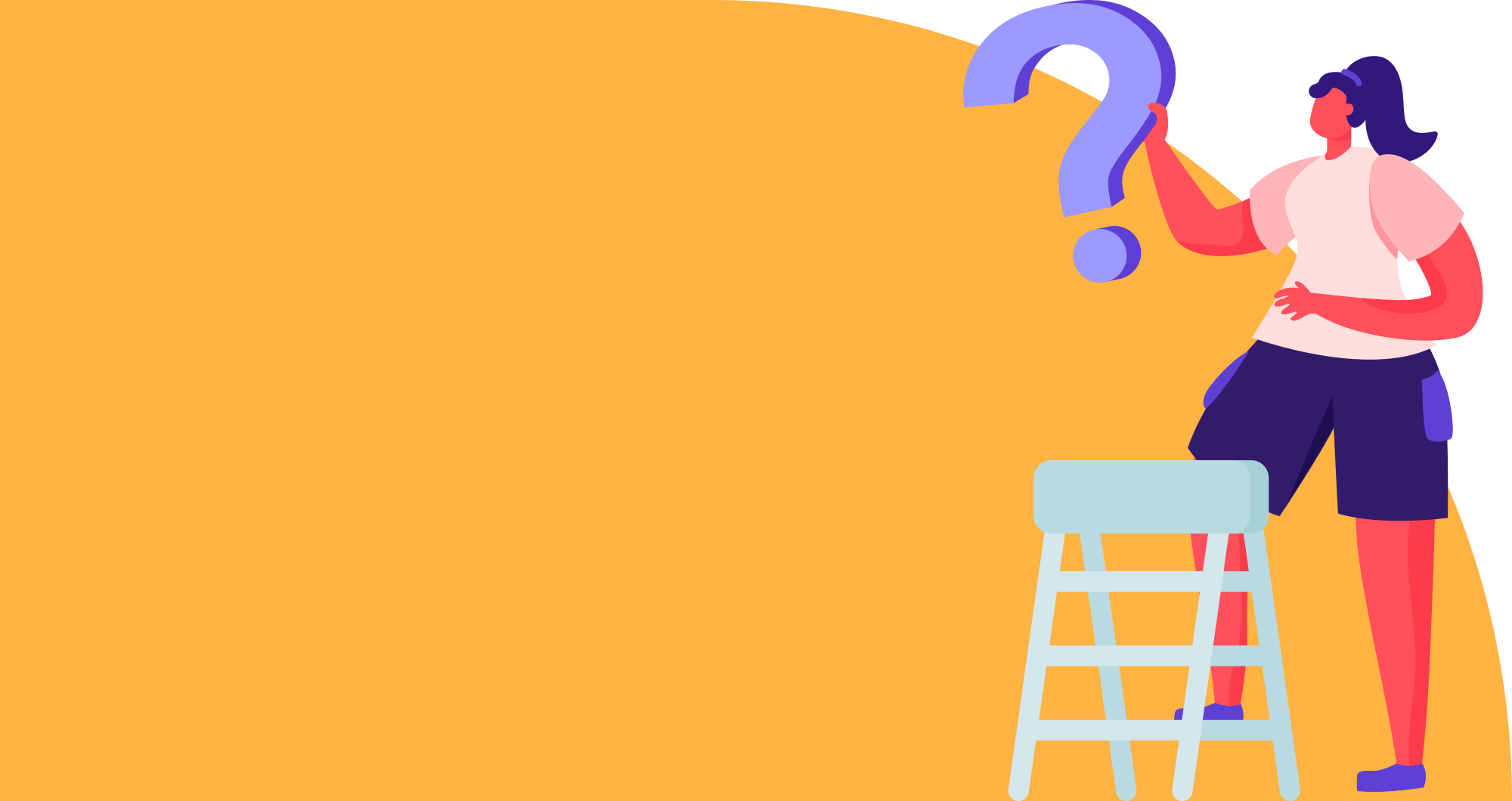 Image of a woman on a step ladder holding a question mark