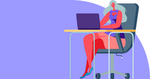 A cartoon woman sitting at a desk in front of her laptop