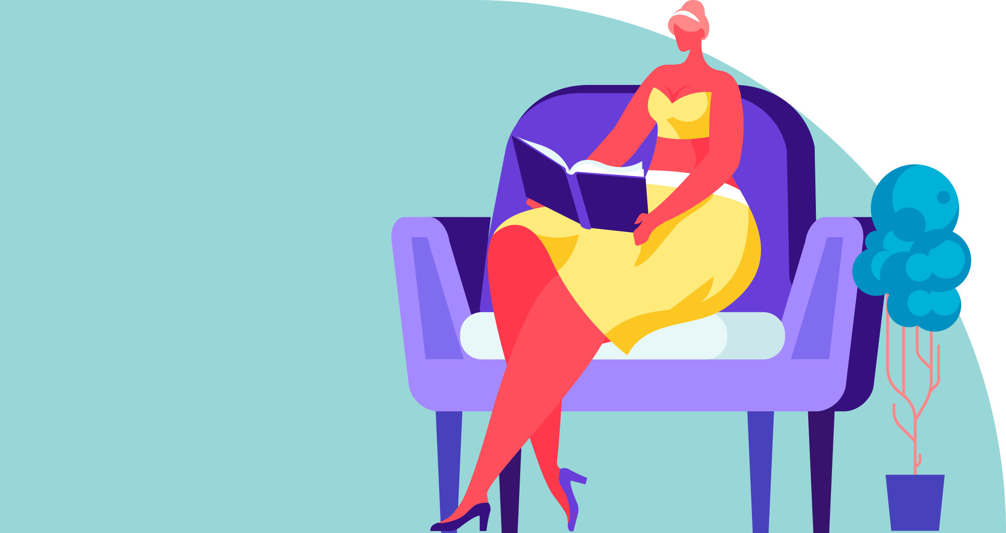 Illustration of a woman reading in a large chair next to a plant.