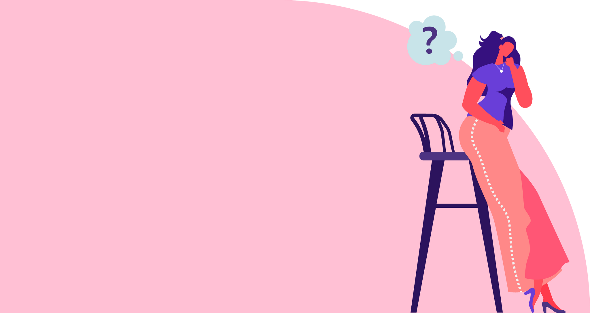 Illustration of a woman leaned against a chair with a thought bubble of a question mark