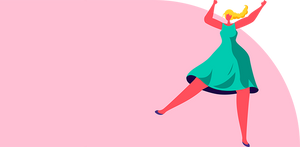 A cartoon woman dancing