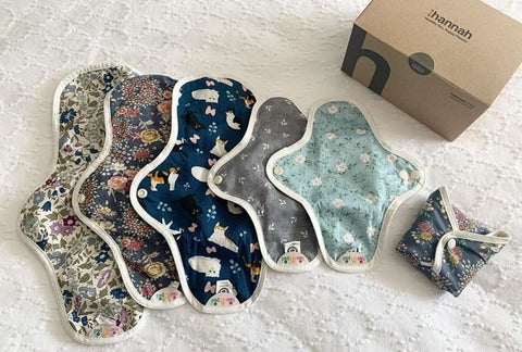 An assortment of hannahpads in different patterns