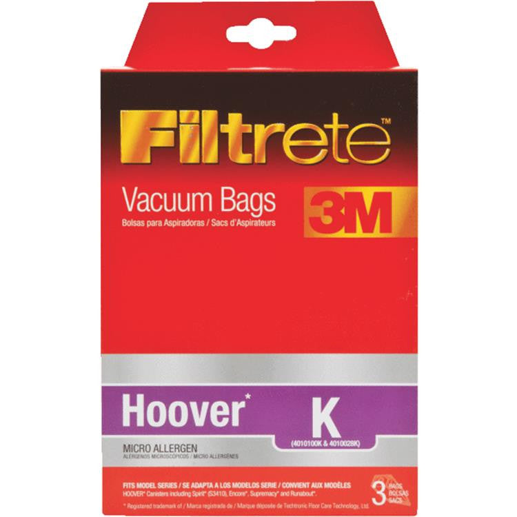 Hoover Style K Canister Vacuum Cleaner Bags 3pk