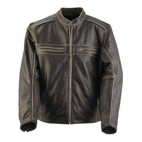 Black Brand Two Lane Leather Jacket - Brown