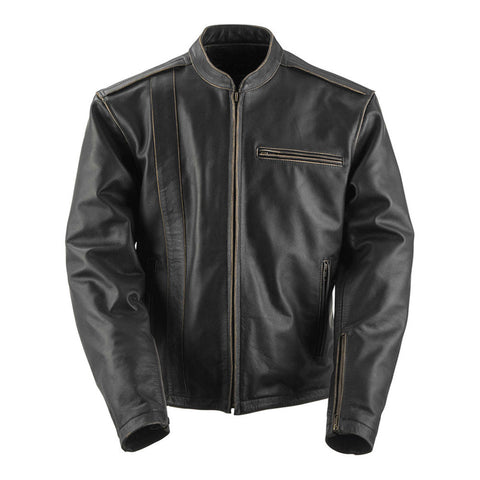 Black Brand Compression Leather Jacket - Brown