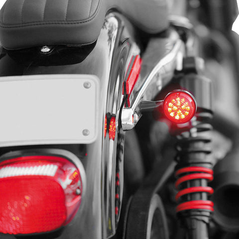 Burly Brand B13-2500B LED Turn Signals (Black, Red Lens) for Harley-Davidson