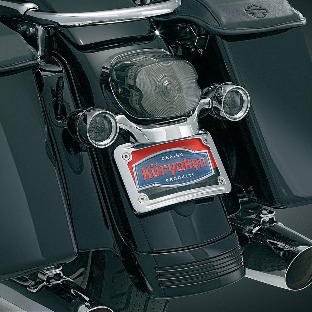 Kuryakyn 3163 Curved License Plate Mount for Harley Davidson Dyna/Touring