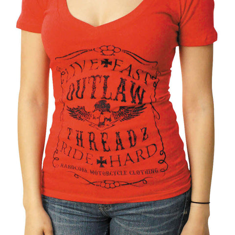 Outlaw Threadz Women's Live Fast Ride Hard V-Neck T-Shirt