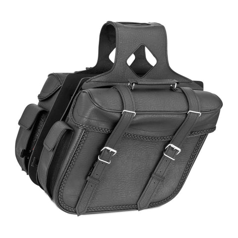 River Road 107726 Quantum Series Slant Large Braided Saddlebags