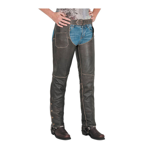 River Road 13/C/3649 Drifter Leather Chaps - Brown
