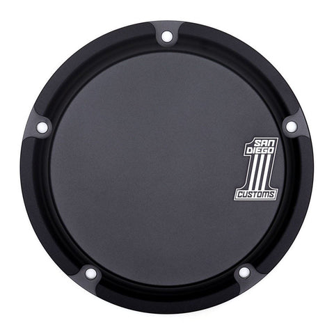San Diego Customs P-DC003BLK Number 1 Derby Cover (Black) for Twin Cam