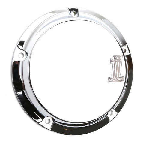 San Diego Customs P-DC003CHR Number 1 Derby Cover (Chrome) for Twin Cam