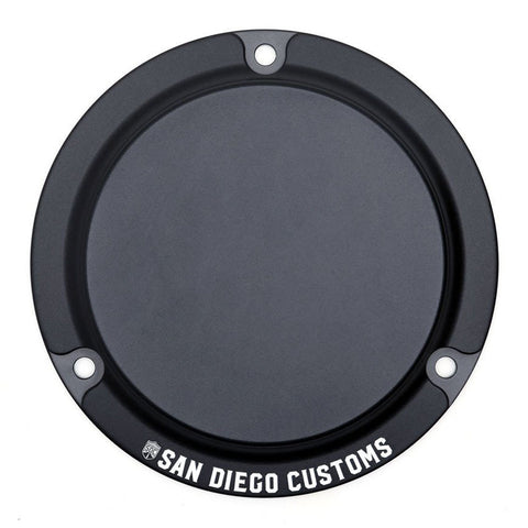 San Diego Customs P-DCE004BLK Logo Derby Cover (Black) for Evo