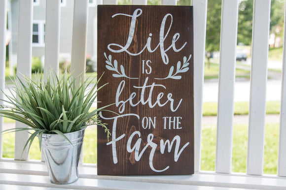FREE U.S. SHIPPING!!!  Life is better on the farm wood sign.  Farm sign
