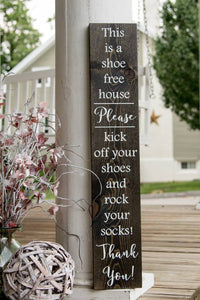 FREE U.S. SHIPPING!!!   Rock your socks wood sign  I   No shoes  I  front door