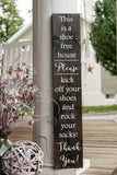 FREE SHIPPING!!!   Rock your socks wood sign  I   No shoes  I  front door  I   remove your shoes  I  shoe free house sign