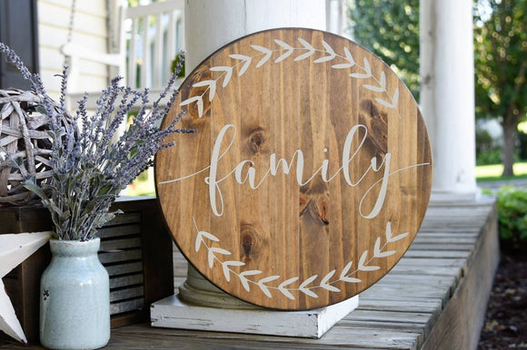 FREE U.S. SHIPPING!!!   Family circle sign  I  Family  I family wood sign