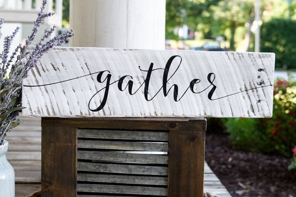 FREE SHIPPING!!!   Gather pallet sign  I  Thanksgiving I  Gather  I  Gather sign  I  Black and White  I  Wood sign