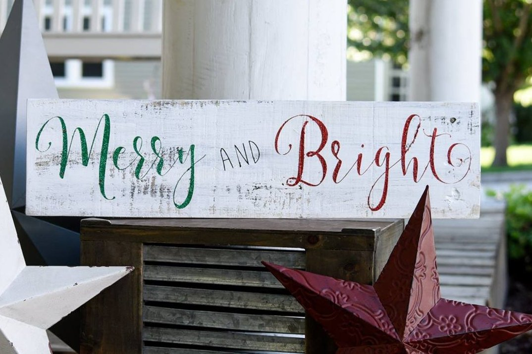 Christmas Signs.Free Shipping Merry And Bright Wood Sign I Christmas Signs I Christmas I Christmas Decor