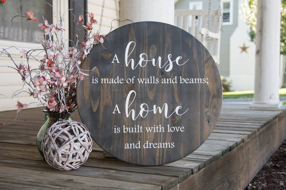 FREE SHIPPING!!!   House is made of walls and beams wood sign  I  Circle wood sign  I  fireplace sign