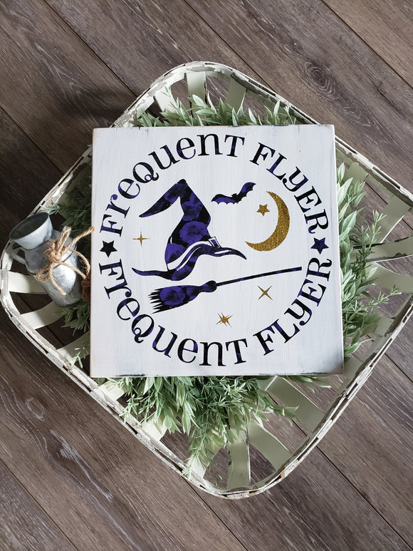 FREE SHIPPING!!! Frequent Flyer Wood sign  I  Halloween sign  I  Halloween  I  Witch sign  I  Witch wood sign  I  Fall  I  Fall sign  I  Fall decor  I  signs