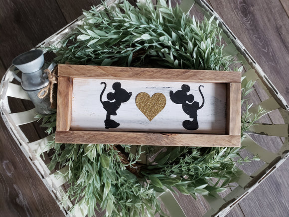FREE SHIPPING!!!   Mouse sign  I  Wedding sign  I    Bedroom sign  I  Anniversary gift  I  Wedding gift  I  Mouse wood sign  I  Love sign  I  Black and white