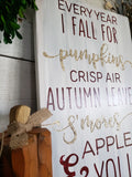 Fall wood sign  I  Pumpkins  I  apples  I  fall  I  fall sign  I  fall decor  I  Every year I fall for