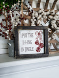 FREE U.S. SHIPPING!!!  I put the jing in jingle wood sign  I  Christmas