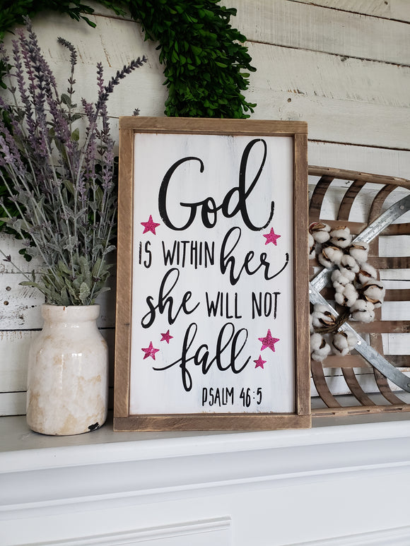 FREE U.S.  SHIPPING!!!    God is within her she will not fall  I  Girls nursery
