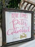 FREE U.S. SHIPPING!!!    Here comes Peter Cottontail  I  Easter I  Easter sign