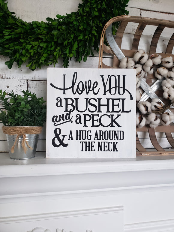 FREE  U.S. SHIPPING!!!  I love you a bushel and a peck  I  Nursery sign