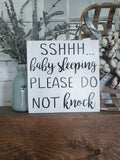 FREE U.S. SHIPPING!!!   Shhhhh  sleeping baby please do not knock wood sign