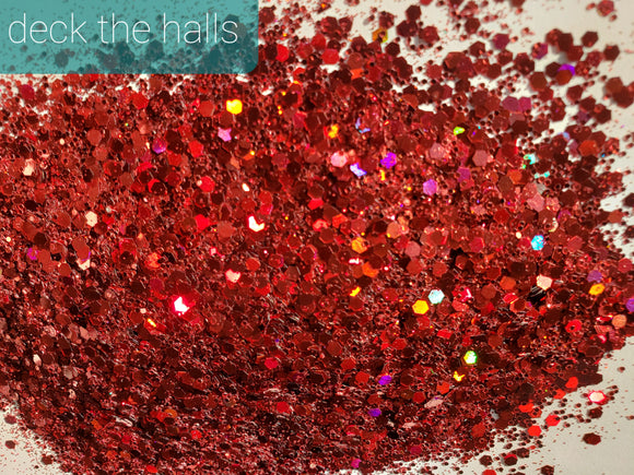 FREE U.S. SHIPPING!!!  Deck the Halls CHUNKY loose glitter.