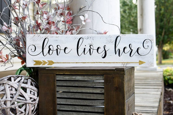 FREE SHIPPING!!!   Love lives here rustic wood sign  I  Love lives here I  arrow  I  arrow sign