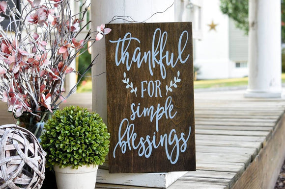 FREE U.S. SHIPPING!!!   Thankful for simple blessings wood sign  I  Thankful