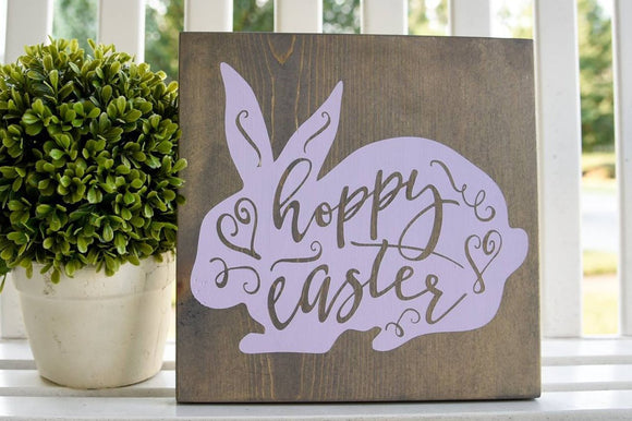 FREE SHIPPING!!!   Hoppy Easter wood sign  I  Easter sign  I  Easter decor  I  Spring  I  Spring sign