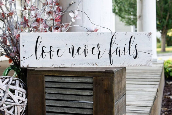 FREE SHIPPING!!!  Love never fails wood sign  I  weddings  I  wedding decor  I  love never fails I  1 Corinthians