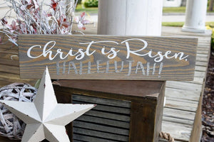 FREE U.S. SHIPPING!!!   Christ is Risen hallelujah wood sign  I  Religious Easter sign