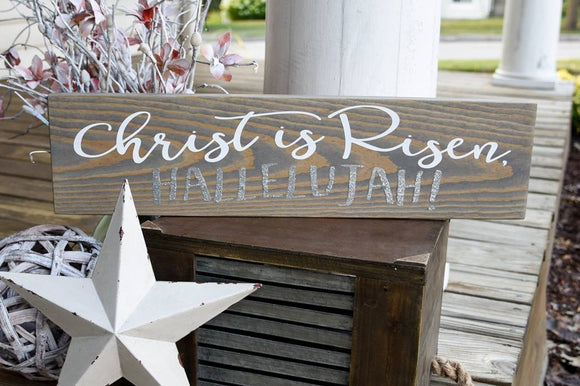 FREE SHIPPING!!!   Christ is Risen hallelujah wood sign  I  Religious Easter sign  I  Easter decor