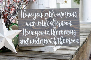 FREE U.S. SHIPPING!!!   I love you in the morning wood sign  I  nursery sign