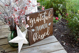 FREE SHIPPING!!!  Grateful Thankful Blessed wood sign  I Grateful sign  I  Thankful sign  I  Wood sign