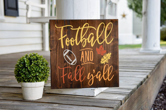 Football and Fall y'all wood sign  I  Football sign  I  Football decor  I Football