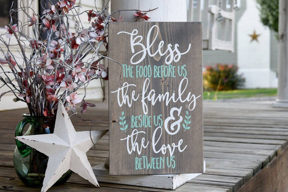 Bless the food before us wood sign  I  Prayer sign  I  Dining room decor  I  Dining room sign
