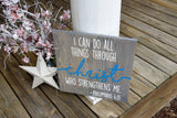 FREE SHIPPING!!!  I can do all things through Christ wood sign  I  Baptism gift  I  Baby dedication gift  I  religious wood sign