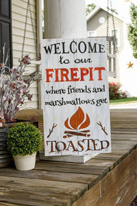 FREE U.S.  SHIPPING!!!   Welcome to our firepit  I  Firepit sign