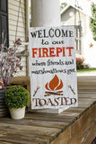 Welcome to our firepit.  Firepit sign, Firepit, Outdoor sign, Fire.