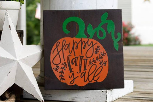 FREE SHIPPING!!!   Happy Fall Y'all wood sign  I  Happy Fall  I  Happy Fall Y'all  I  Pumpkin  I  Pumpkin sign