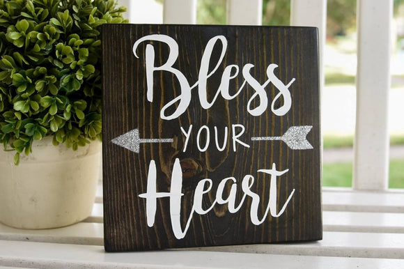 FREE SHIPPING!!!   Bless your heart wood sign  I  home decor  I  gifts for her  I  arrows
